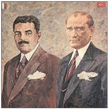 Atatürk ve Fransa Başbakanı Edouard Herriot (Edvard Heryıt) (Ressam: Rahmi Pehlivanlı)