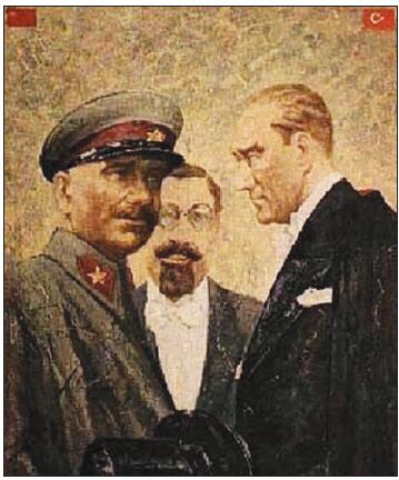Atatürk ve Sovyetler Birliği Mareşali Kliment Voroshilov (Kılaymınt Vorşilov) (Ressam Rahmi Pehlivanlı)