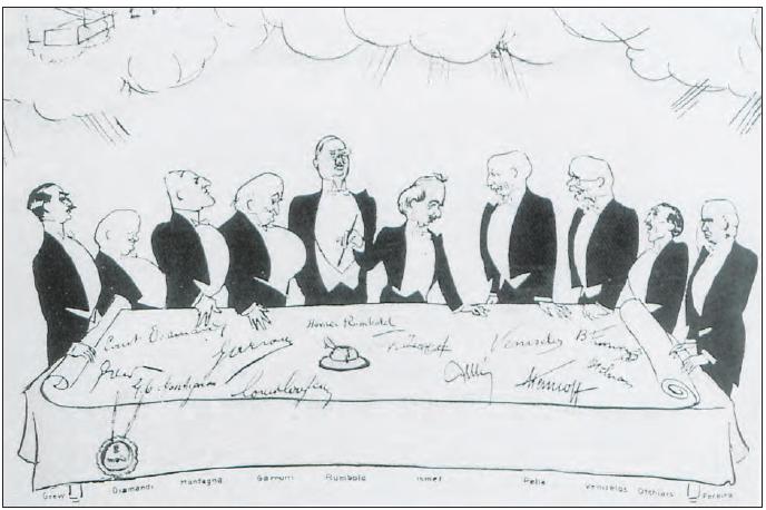 Karikatürist Derso ve Kelin'in Lozan Barış Antlaşması'nın imzalanmasını gösteren karikatürü