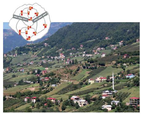 Görsel 2.18 Doğal koşulların etkisiyle oluşan dağınık dokulu kırsal yerleşme (Trabzon)