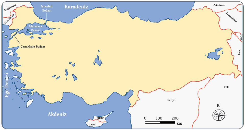 Harita 1.15 Türkiye'de yer alan denizler ve boğazlar