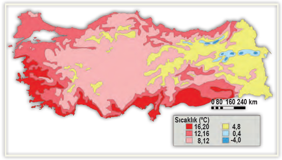 Harita 1.35 Türkiye'nin yıllık ortalama sıcaklık dağılışı