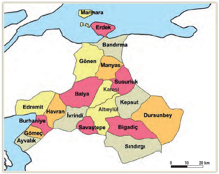 Harita 2.2 Balıkesir'in ilçeleri