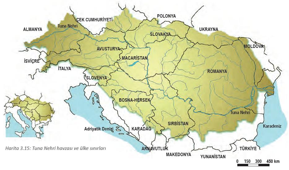 Harita 3.15 Tuna Nehri havzası ve ülke sınırları