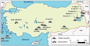 Harita 4.7 Türkiye ve Türkiye'nin yakın çevresinde bulunan volkanlar