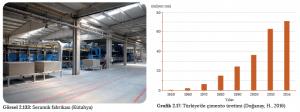 Görsel 2.133 Seramik fabrikası (Kütahya) - Grafik 2.17 Türkiye'de çimento üretimi (Doğanay, H., 2016)