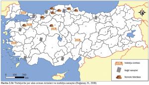 Harita 2.24 Türkiye'de yer alan orman ürünleri ve mobilya sanayisi (Doğanay, H., 2016)