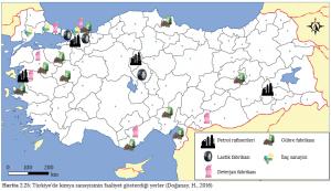 Harita 2.25 Türkiye'de kimya sanayisinin faaliyet gösterdiği yerler (Doğanay, H., 2016)