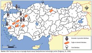 Harita 2.26 Türkiye'de taş ve toprağa dayalı sanayi faaliyetlerinin bulunduğu yerler (Doğanay, H., 2016)