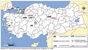 Harita 2.27 Türkiye'de üretilen makinelerin bulunduğu yerler (Doğanay, H., 2016)